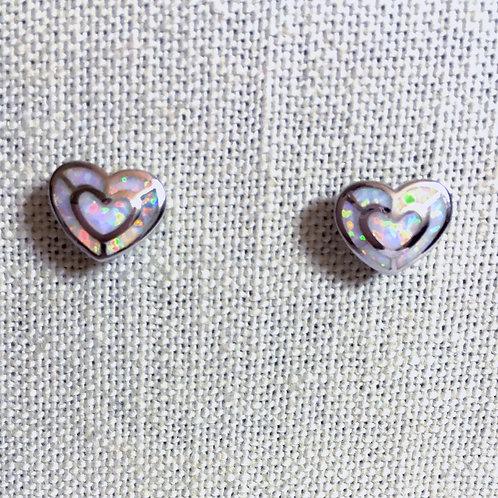 Heart white lab opal