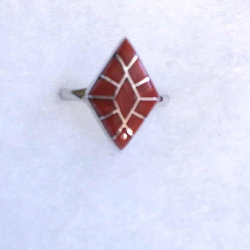Inlay coral ring