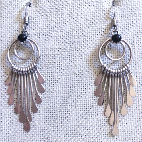 Onyx paddle earrings