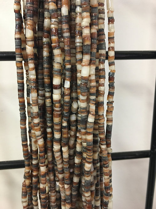 "Brown lip heishi shell- 24"" long, 2-3 mm"
