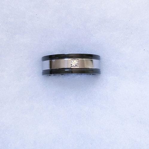 Steel ring w/ cz