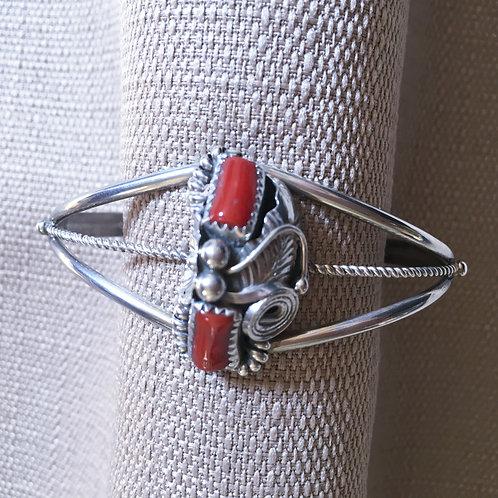 Coral  cuff bracelet