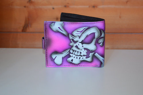 Tri Fold leather wallet, Custom Airbrushed