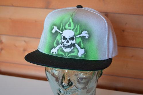 Green Flames Custom Airbrushed Cap