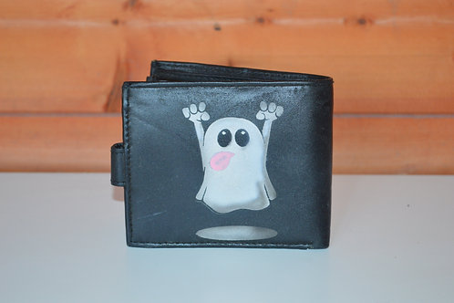 Ghost Tri Fold leather wallet, Custom Airbrushed
