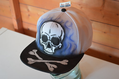 Flaming Skull On Blue