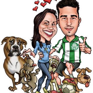 Casal e cães