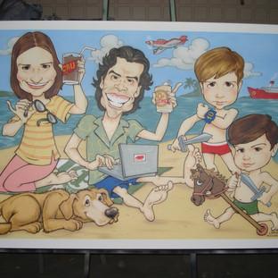 Quadro com 1,00 X 1,50 m com a pintura das caricaturas de uma família