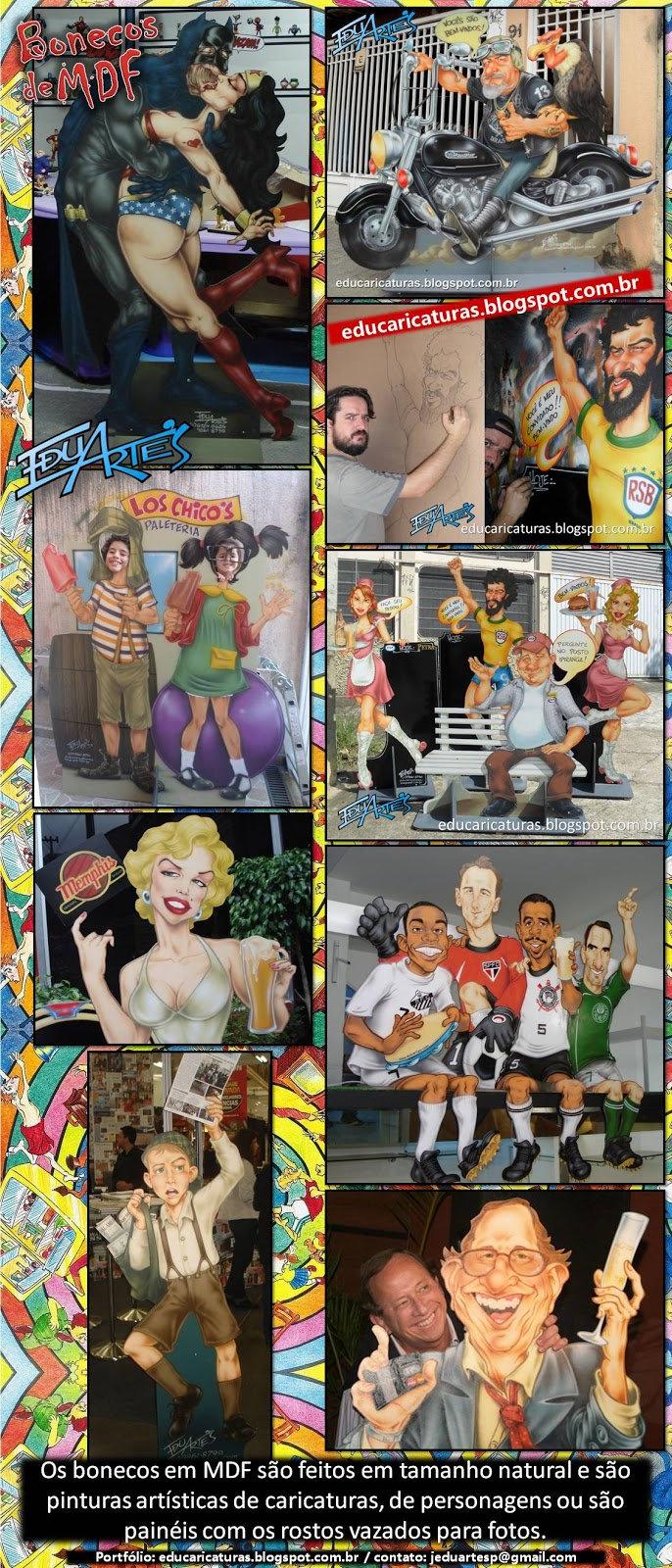 Bonecos e painéis com caricaturas em tamanho real