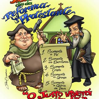 Caricaturas dos Reformadores Martinho Lutero e João Calvino