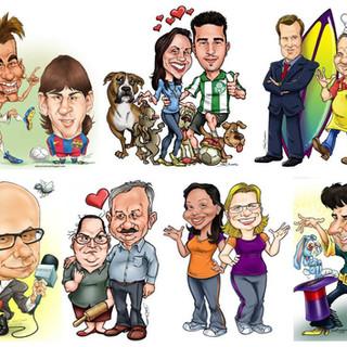 Caricaturas diversas feitas pelo Edu