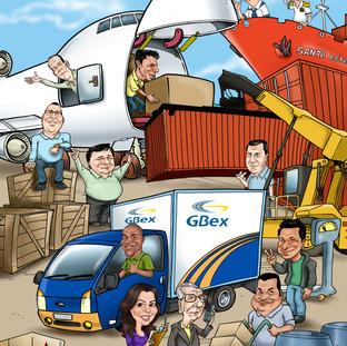 Ilustração com caricaturas para ser aplicada em agenda de transportadora