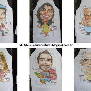 Caricaturas feitas em aventais com aerógrafo