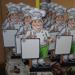 Chefs adesivados para rede de restaurantes