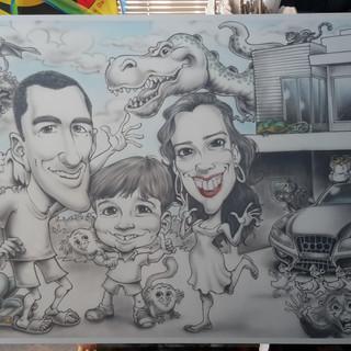Quadro com as caricaturas de uma família