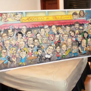 Painel com 3,00 X 1,00 m com caricaturas
