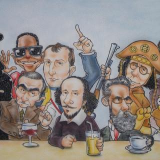 Pintura em parede com caricaturas de personagens históricos num encontro improvável