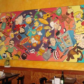 Painel com 4,00 X 1,60 m com caricaturas sobre espiral feito para um restaurante