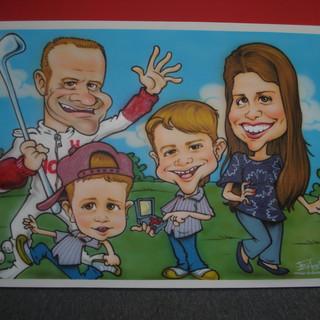 Quadro com as caricaturas da família Barrichello