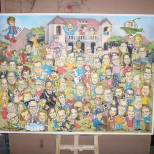 Quadro com 75 caricaturas