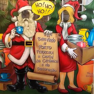 Casal Papai e Mamãe Noel com rostos vazados para fotos feito para Porto Ferreira/ SP
