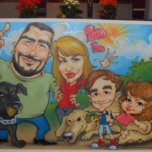 Quadro com 1,00 X 0,80 m com a pintura das caricaturas de uma família