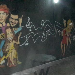 Painel com Caetano Veloso, Cazuza, Renato Russo e Maria Bethania