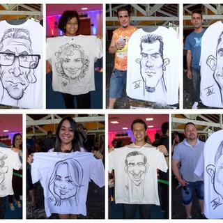 Caricaturas feitas em camisetas com aerografia