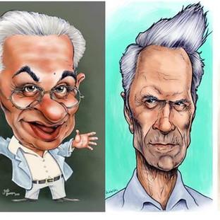 Caricaturas de Cesar Cielo, Chico Anysio, Clint Eastwood e Lemmy Kilminster
