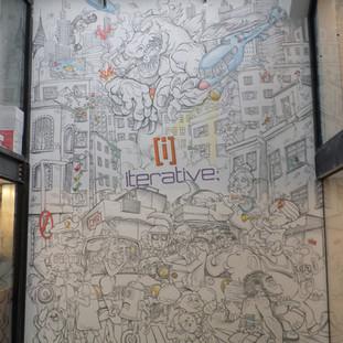 Pintura do caos urbano com 3,5 m de largura X 5,0 m de altura