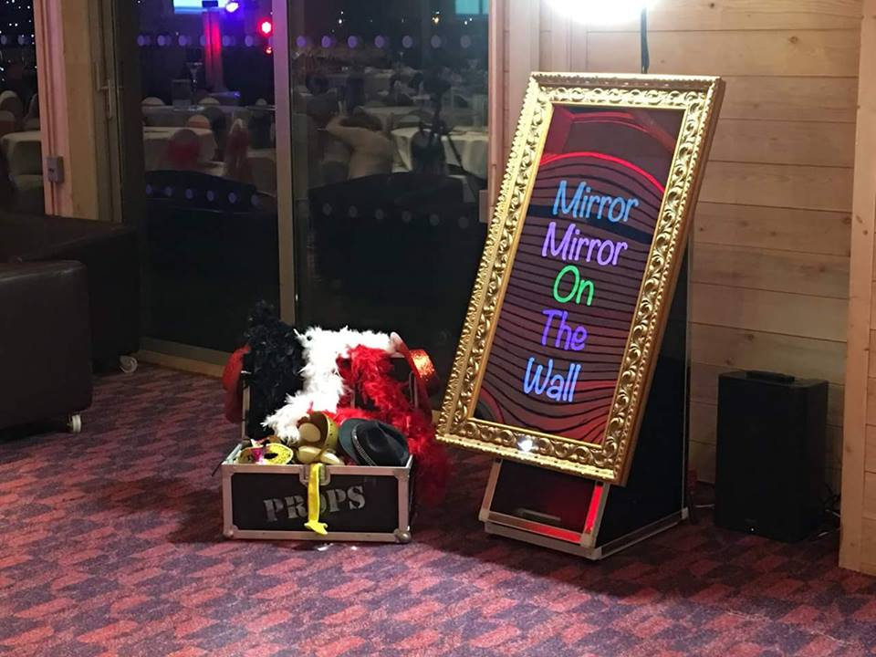 magic selfie mirror with props ready to