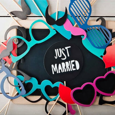 just married sunglasses props devotion w