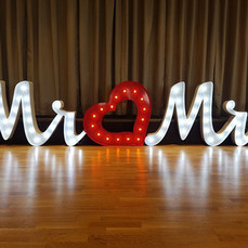 large white mr and mrs letters with red