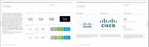 Pages from the Cisco brand manual, describing logo usage. View the full manual here.