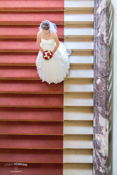 Craig Howkins Photography wedding photographer St Ives Cambridge Cambridgeshire Northampton Northamptonshire staircase Merseburg Staendehaus bride