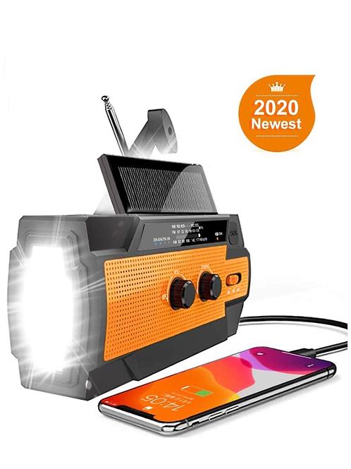 Emergency Hand Crank Radio Flashlight Solar Radio Portable 4000mAh