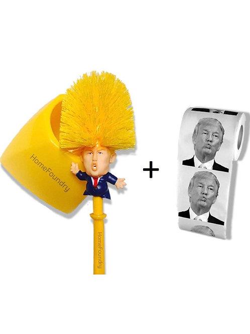 Donald Trump Toilet Brush Toilet Paper Bundle Funny Political Gag Novelty Item