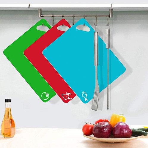 Flexible Plastic Cutting Boards Set for Kitchen Dishwasher Safe