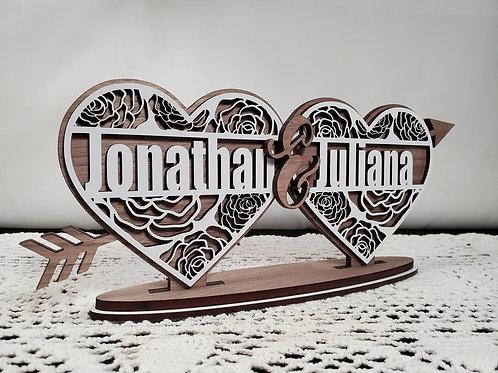 Personalized Valentine Day Split Monogram Name
