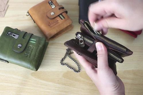 Free Engraving 100% Jeep  Leather Men / Women Wallet