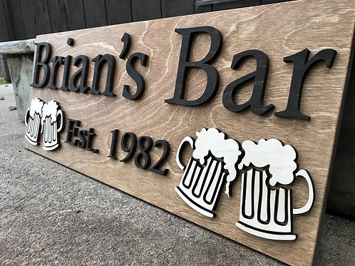 Personalized Bar Sign Wooden Sign Gift Custom Wood Sign Personalized Wood Sign