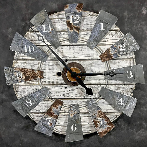 Windmill Clock - white stressed                       GIHS0001
