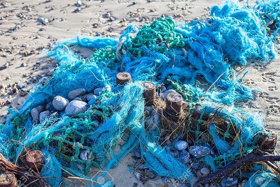 69285963-blue-tangled-fishing-nets-washe