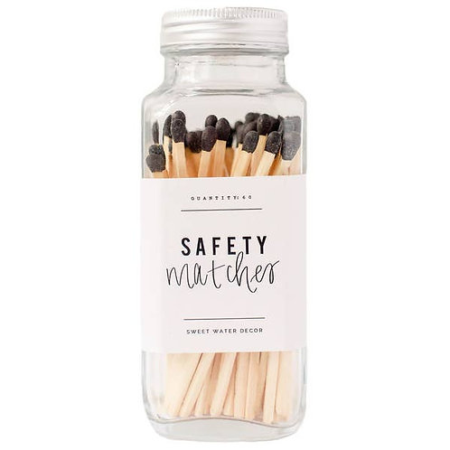 Black Safety Matches In Glass Jar