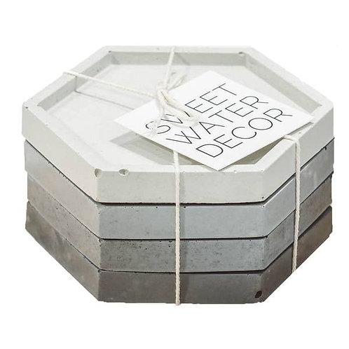 Grey Hexagon Ombre Concrete Coaster Set