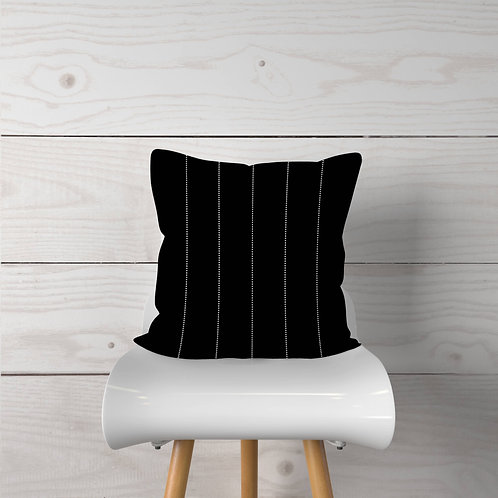 Black with White Dot Stripes Pillow Cover