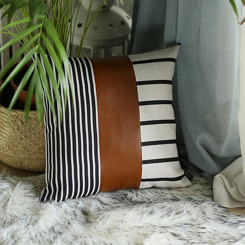 Brown Faux Leather Throw Pillow Cover