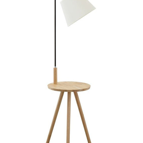 Wood Table with Metal Lamp
