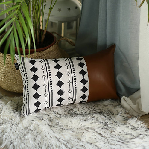 Boho Vegan Leather Lumbar Pillow