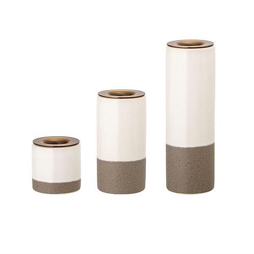 White and Gray Stoneware Candle Holder Set
